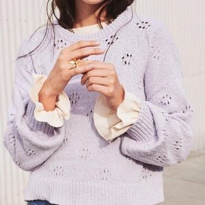 Madewell NWT Floral Pointelle Pullover Sweater